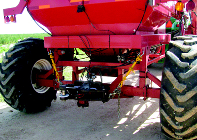 An air-seeder fitted with a ProTrakker steerable draw-bar hitch for active implement guidance.
