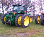 ProTrakker 400DB hydraulic hitches mounted to John Deere tractors